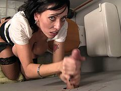 The sexy brunette cougar Alia Janine wears her sexy stockings as she gives an amazingly hot head through a gloryhole while she rubs her yummy clit.