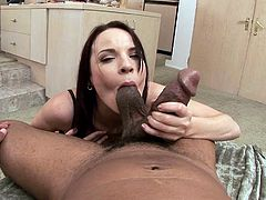 The gorgeous brunettes Dana De Armond gives this black dude an amazingly sexy blowjob and licks his balls so she can get her mouth filled with cum.