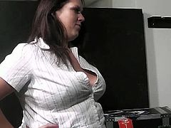 Busty Work brings you a hell of a free porn video where you can see how this chubby brunette in fishnets sucks and gets fucked deep and hard into a massive orgasm.