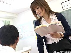 Lewd Japanese teacher Arisa Misato is playing dirty games with a guy indoors. They have passionate oral sex, then Arisa bends over a desk and lets the guy fuck her twat from behind.