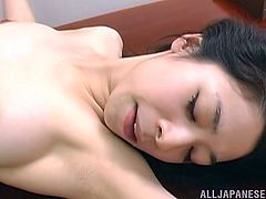 Witness this amateur video where a Japanese chick, with a hairy pussy wearing a miniskirt, gets nailed hard in different positions.