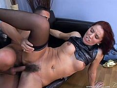 Horny MILF Melanie Malone takes a hard fuck and gets her dirty hairy pussy jizzed by a big hard cock after sucking it like an angel.