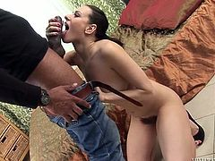 Bodacious whore takes huge black cock up her hairy snatch