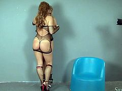 Curvy white bitches in fishnets Silvia and Michelle in hot lesbian scene
