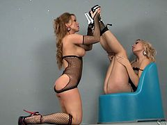 Sultry MILFs in high heel shoes and fishnet outfits Silvia Saint and Michelle sensually suck each other's boobs and lick their delicious shaved cunts.