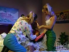 Take a look at this vintage video where these naughty ladies make you pop a boner as they have a lesbian threesome in one of their bed rooms.