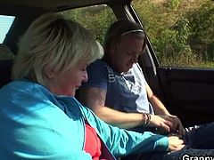 Hitchhiking always had a sexy touch to it. When Jan was driving across a forest road, he spotted a cute-looking granny in an obvious need of a ride. It's always easy with them grannies! She knew payback was imminent, so she easily let him play with her rack and was soon munching away at his meaty dick. He left the car and attacked her hairy box from behind. Drenched by the sunlight, they went through some positions, not thinking about possible passers-by at all. The fuckfest continued on the grass, Jan glazed her face and left with all fucking speed!