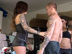 Gorgeous tattooed babes Karmen Karma and Aimee Black lick their wet hot pussies while they get rammed by this lucky dude.