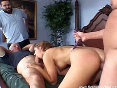 Screw My Wife Club brings you a hell of a free porn video where you can see how a hot brunette gets banged in front of her man while assuming very hot poses.