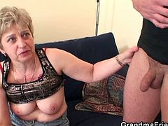Grandma Friends brings you a hell of a free porn video where you can see how this horny blonde granny takes two hard cocks at once with her vicious mouth.