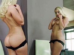 Take a look at Marry Queen's unbelievable body in this solo scene where this gorgeous blonde fingers her pink pussy while in front of a mirror.