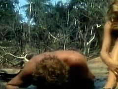 Amanda Donohe undressed squatting down doing some cooking till standing up and cleaning A tent. Then Amanda Donohoe topless sitting in A chair topless as A male talks to her. Then we see her in few more topless and bare actions while hanging out onto the beach. From Castaway.