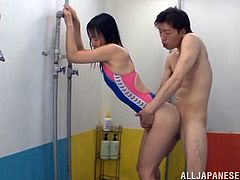 Take a look at this hardcore scene where the horny Asian hottie Chizuru Sakura is nailed by this guy as you hear her moan while wearing a swimsuit.