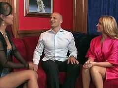 An Asian hottie recommends this gorgeous blonde to be the best masseuse she has. This bald guy is impressed even before she grabs his cock and starts to stroke it.
