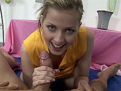 This hot blonde peels off her pink panties, sucks this guy's cock then lets him explode in her mouth and all over her perky tits.