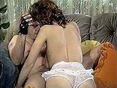 Sex appeal retro brunette throws her legs over head and dude dives in her pussy. He tickles her clit with tongue and finger fucks her till the happy end.
