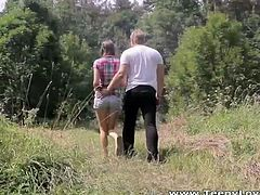 Make sure you don't miss this horny couple having some outdoor fun in the woods. Watch as she gets on her knees to blow his meaty cock before getting nailed hard.