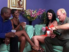 Bootyful ebony hottie sucks white cock and rides it in a reverse cowgirl pose before getting doggyfucked. Busty brunette babe gets her clam banged from behind and mish by BBC.
