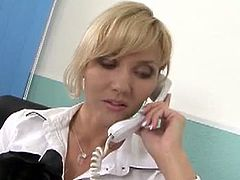Horny office milf Zlata is wearing her super hot fishnets and seduces a young stud and finds a stiff cock in her cunt and jizz squirted all over her pretty face.