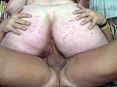 Voracious obese whore with tremendous natural boobs sucks massive dick and rides it in a cowgirl pose. Thereafter she gets her trench drilled doggystyle and mish.