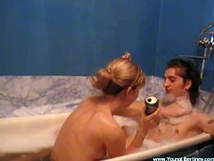 Have fun with this amateur video where this naughty blonde teen is fucked by her boyfriend in the bathtub as the camera films.