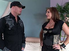 A beautiful cougar with big, fake tits and a fabulous body enjoys a mind-blowing doggy style fuck. Hear her scream with pleasure now!