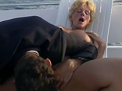Short-haired blonde skank gets brutally fucked from behind