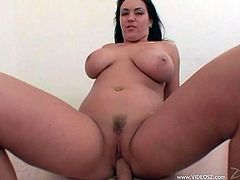 Curvaceous dark-haired wench sucks massive cock and rides it in a cowgirl pose. Then she gets her asshole drilled mish and doggystyle until man fills it with jizz.