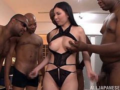 Goddess Brunette Gets Gangbanged By Several Black Dudes