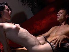 Lustful raven-haired skank gets her cunt eaten before buddy hammers it mish and doggystyle. Then she rides massive pecker on top and gets poked in a sideways pose.