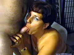 Entertain yourself by watching this mature brunette, with a hairy pussy wearing sexy lingerie, while she gets pounded hard in different positions.