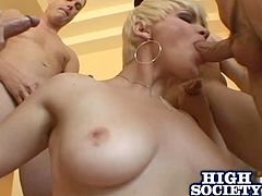Claudia shows off her oral fixation when she sucks multiple guy's cocks then she lets them all cum in her mouth so she can swallow it all.