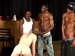 These four black studs team up and have full blown gay gangbang as they take turns fucking and cumming all over a horny white guy.