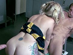 Tattooed Cheerleader Swallows Cock As She Is Drilled