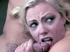 Blonde cheerleader with tattoo stimulated as she swallows cock then bends over and gets drilled doggy style before getting screwed in her anal