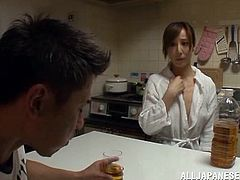 Sizzling Japanese milf Wakaba Onoue is playing with her pussy on a sofa. Wakaba spreads her legs wide open and rubs her snatch till getting an orgasm.