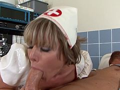 His massive dick gently pounding her soft cunt makes mature nurse to scream and tremble of high pleasure