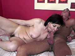 Nasty dark-haired tart provides skinny dude with awesome blowjob and rides his massive prick on top. Thereafter she gets her loose twat pounded in a sideways pose and doggystyle.
