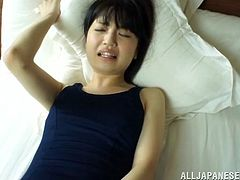 The sexy Reona Aizawa wears a sexy swimsuit as she gets her hairy Asian pussy toyed and ends up getting drilled by a big hard cock.