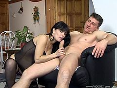 Amazingly sexy pregnant babe Alexandra enjoys riding a big hard cock and ends up getting her perfect belly covered with hot cum.