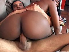 Slutty chocolate whore rides her lover's dick in cowgirl position