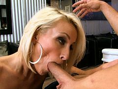 Shapely blonde Lexi Swallow gives hot blowjob to her lover