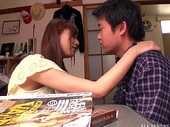 Admirable Japanese chick Rina Rukawa and a man caress each other ardently and have oral sex. After that they bang in the missionary position.