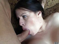 Inviting slut with huge melons rides a raging boner