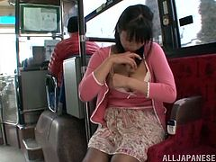 The horny Japanese babe Hana Haruna gives this guy the hottest handjob in the city bus and ends up sucking his cock dry.