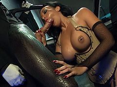 Slutty dark-haired wench with pierced juicy boobs deepthroats two meaty cocks. She rides huge prick on top and gets her poon bonked mish while giving a head to other man.