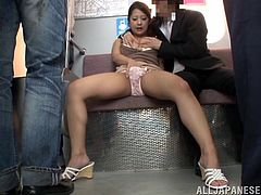 This gorgeous Asian babe sucks one cock after another on the subway and ends up getting her perfect boobs covered with hot cum.