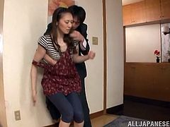 Misuzu Takashi is a nasty housewife and all she wants to do is get her pussy fucked on the floor. Her husband grabs her boobs and her pussy and drills her well.