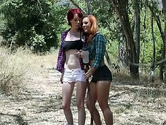 Dani Jenson and Zoey Nixon are two hot redheads who went on the beach and met a dude. Soon they played with his cock and took it in their sweet cunts as well.