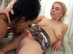 Two horny moms are playing lesbian games indoors. They kiss and caress each other and then eat each other's shaved twats and massage them.